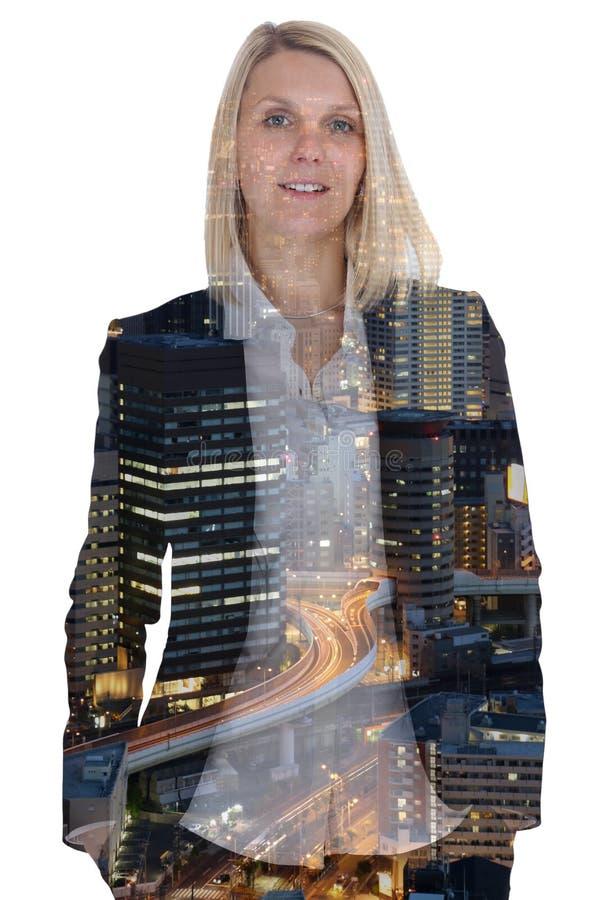 Van de de onderneemstermanager van de bedrijfsconceptenvrouw de stads dubbele exposur royalty-vrije stock foto