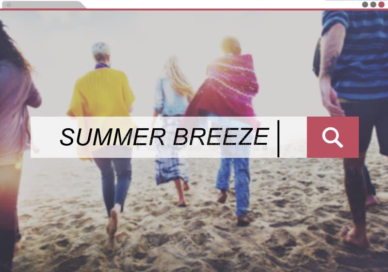 Van de de Ontspanningsvakantie van de de zomerwind het Geluk Vers Concept stock afbeelding