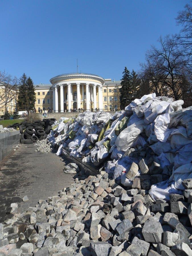 Van de de Oorlogsrevolutie van Kyiv 2014 Maydan Kiev de Architectuur van de Oekraïne royalty-vrije stock afbeelding