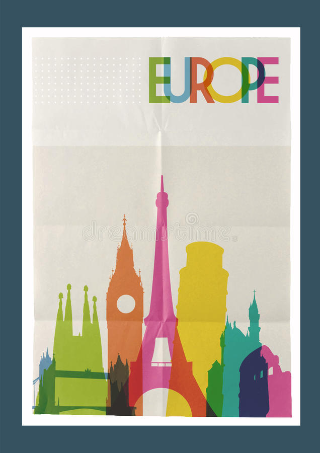 Van de de oriëntatiepuntenhorizon van reiseuropa de uitstekende affiche stock illustratie