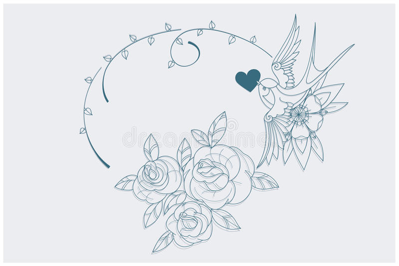 Van de de pagina oude school van het liefdethema kleurende de tatoegeringstekens vector illustratie