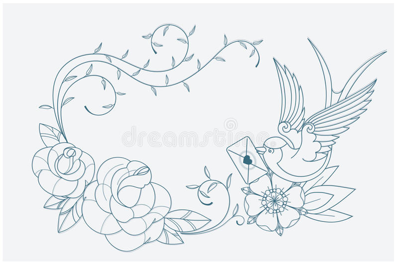 Van de de pagina oude school van het liefdethema kleurende de tatoegeringstekens royalty-vrije illustratie