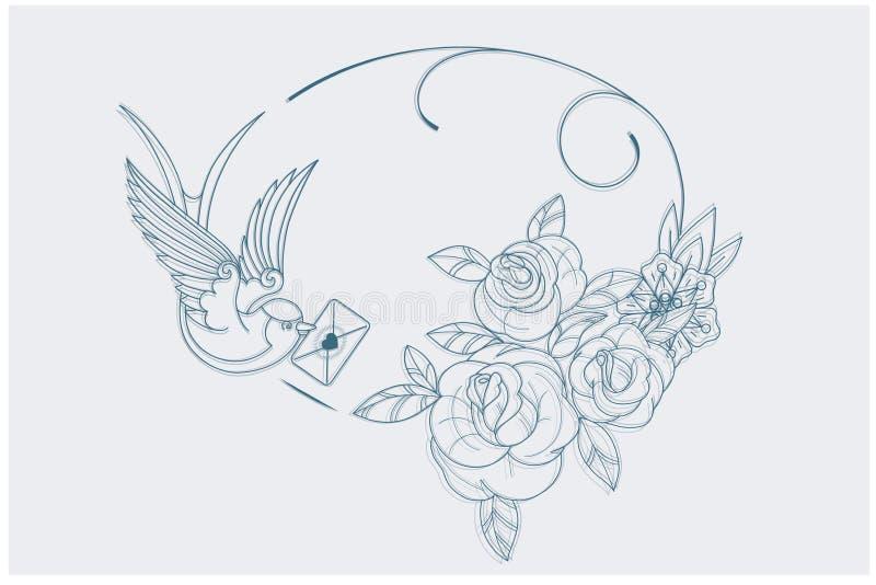 Van de de pagina oude school van het liefdethema kleurende de tatoegeringstekens stock illustratie