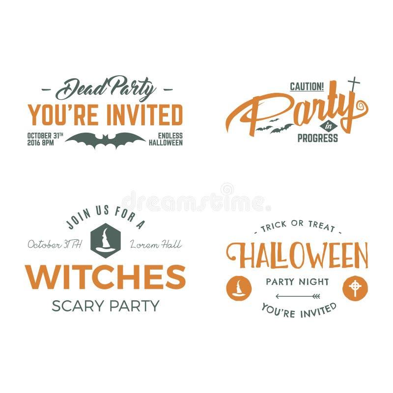 Van de de partijuitnodiging van Halloween 2016 het etiketmalplaatjes met enge symbolen - beheks hoed, knuppel en typografieelemen royalty-vrije illustratie