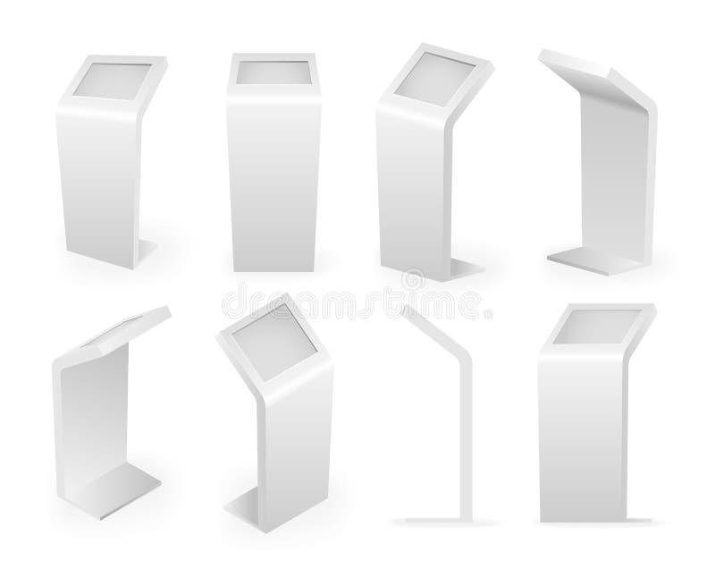 Van de de pictogrammen isometrische reeks van betalingskiosken eind van het de aanrakingsscherm digitale interactieve 3d realisti royalty-vrije illustratie