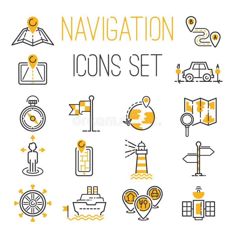 Van de de plaatsspeld van het navigatieoverzicht van de het pictogramrichting van het het onderzoeksontwerp van het de aardeweb d royalty-vrije illustratie