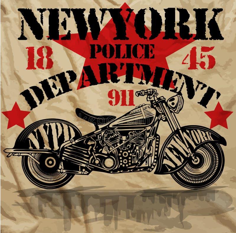 Van de de Pretmens van motorfietsnew york de T-shirt Grafisch Ontwerp stock illustratie