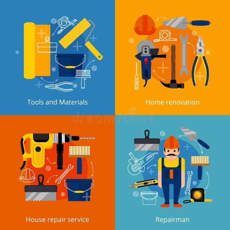 Van de de reparatiedienst en vernieuwing geplaatste pictogrammen vector illustratie