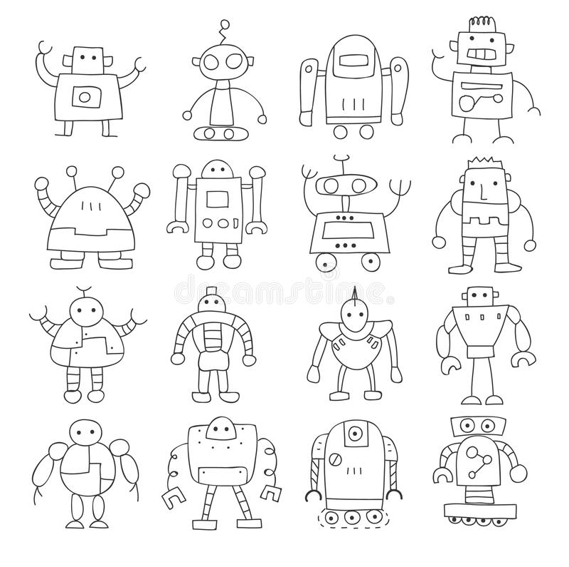 Van de de robot leuke krabbel van de pictogram dunne lijn getrokken vector vastgestelde de kunstillus hand royalty-vrije illustratie
