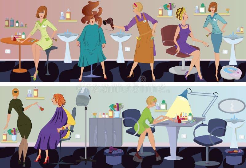 Van de de salonbanner van de schoonheid het haarslag het drogen vector illustratie