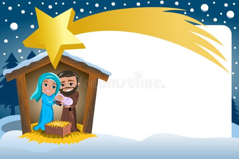 Van de de Scènewinter van de Kerstmisgeboorte van christus het Sneeuwkader Comete stock illustratie