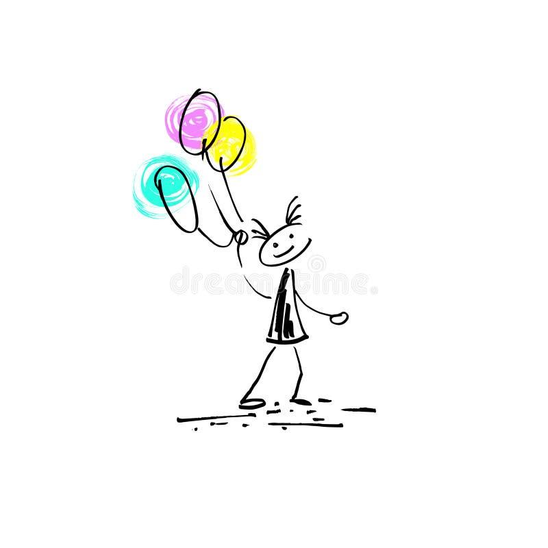 Van de de schetskrabbel van de handtekening van het de stokcijfer het menselijke vrolijke meisje vector illustratie