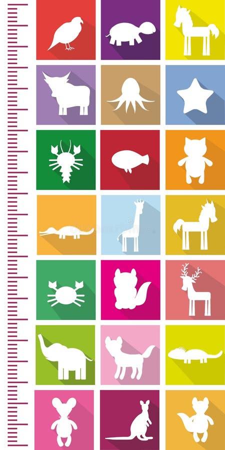 Van de de Schildpadoctopus van het vogelpaard van de Vissenkanker van de de girafeenhoorn van de de kattenkrokodil van de de hert vector illustratie
