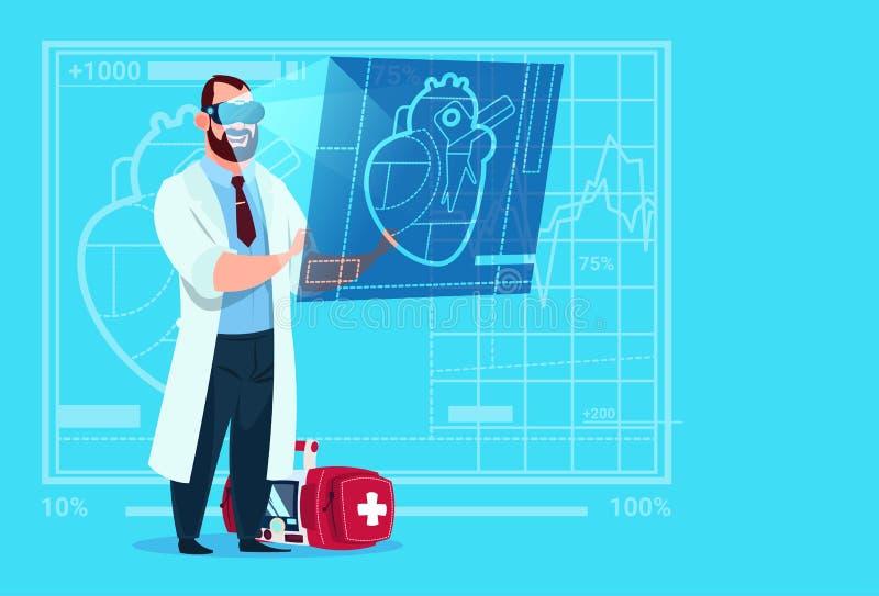 Van de de Slijtage het Virtuele Werkelijkheid van Examining Digital Heart van de artsencardioloog van de Glazen Medische Klinieke vector illustratie
