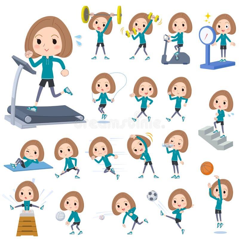 Van de de slijtagevrouw van het loodjeshaar de groene Sporten & de oefening royalty-vrije illustratie