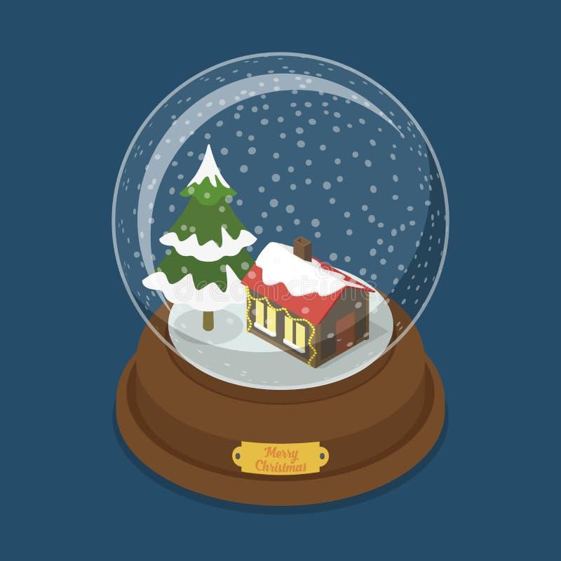 Van de de sneeuwboom van kristallen bol Vrolijke Kerstmis vlakke vector isometrisch vector illustratie
