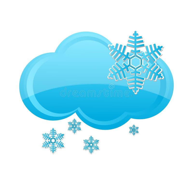 Van de de sneeuwwolk van het weer het symbool blauwe kleur vector illustratie