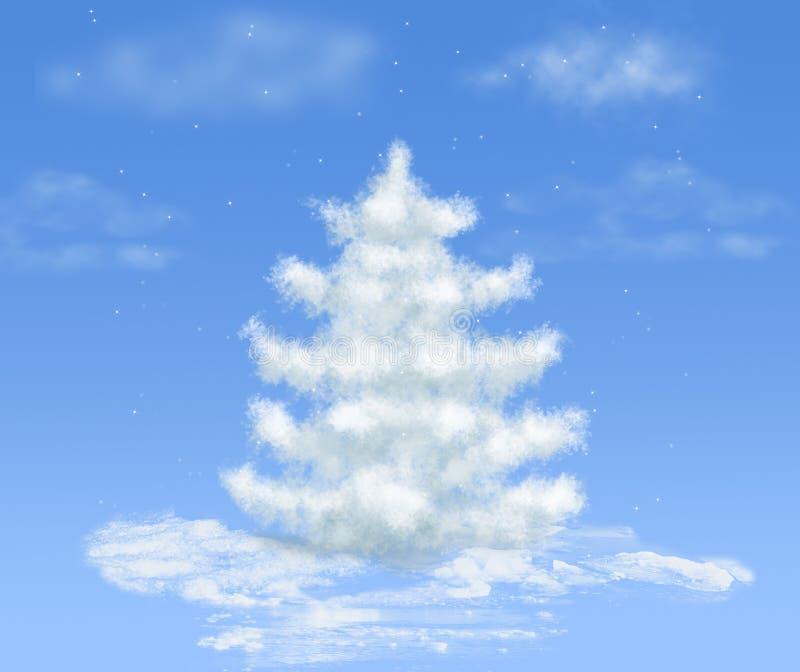 Van de de sneeuwwolk van Kerstmis de droomboom op blauw royalty-vrije illustratie