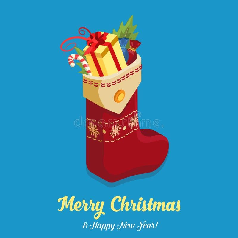 Van de de sok volledige gift van het Kerstmisnieuwjaar het suikergoed vlakke isometrische vector 3d vector illustratie