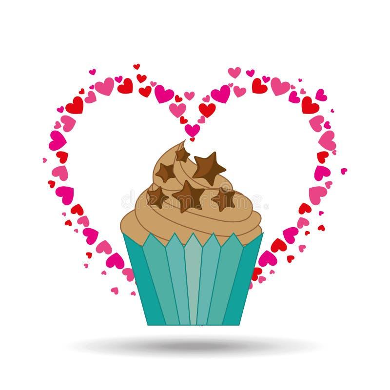 van de de spaanderster van het hartbeeldverhaal cupcake het ontwerp van het de chocoladepictogram vector illustratie