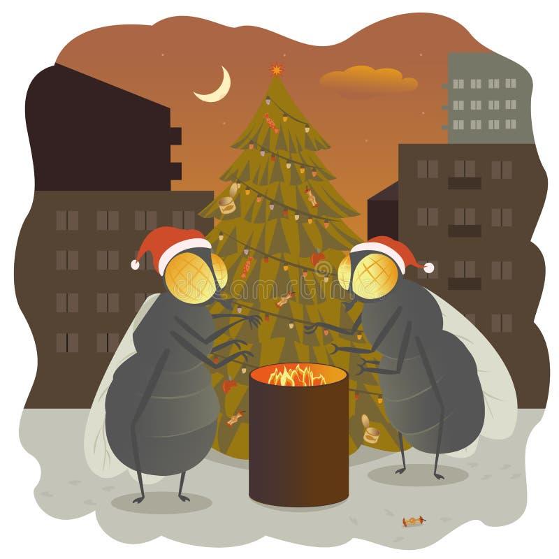 Van de de sparrenvakantie van nieuwjaarvliegen van de het feestdag warme de illustratiebrand vector illustratie