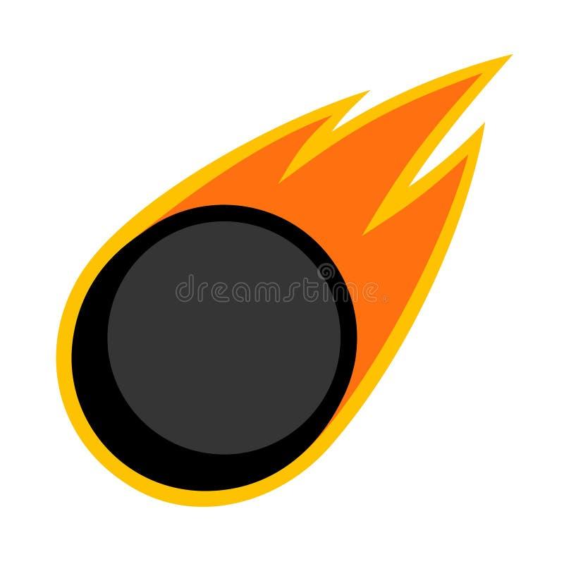 Van de de sportkomeet van de ijshockeywinter van de de brandstaart vliegend de puckembleem vector illustratie