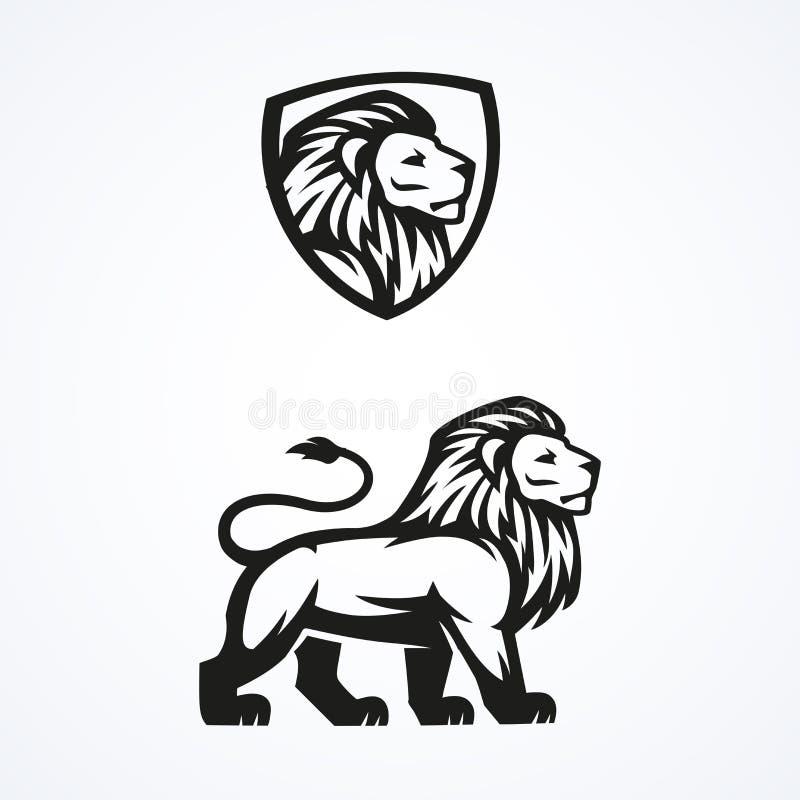 Van de de sportmascotte van het leeuwembleem het embleem vectorontwerp royalty-vrije stock foto