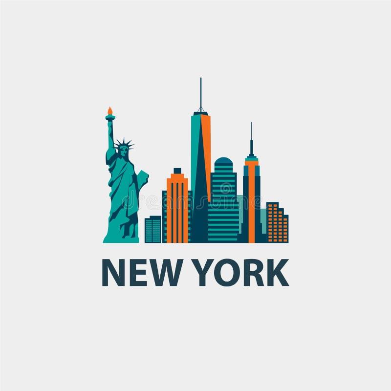 Van de de stadsarchitectuur van New York retro vector stock illustratie