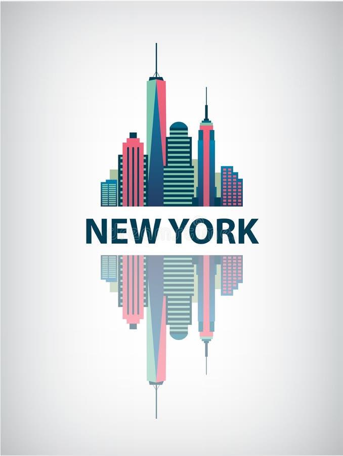Van de de stadsarchitectuur van New York retro vector royalty-vrije illustratie