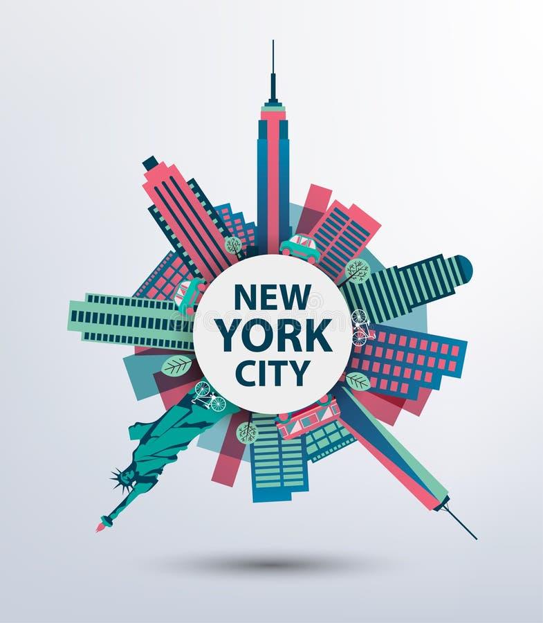 Van de de stadsarchitectuur van New York retro vector vector illustratie