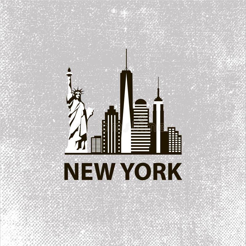 Van de de stadsarchitectuur van New York retro zwart-wit vector illustratie