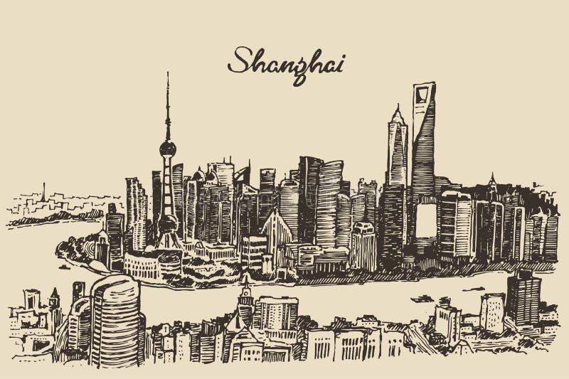Van de de Stadsarchitectuur van Shanghai de uitstekende schets van China royalty-vrije illustratie