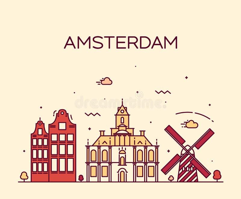 Van de de Stadshorizon van Amsterdam In vector de lijnart. royalty-vrije illustratie