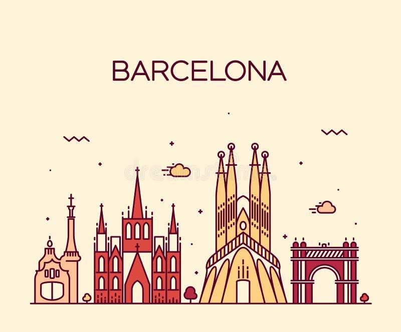 Van de de Stadshorizon van Barcelona In vector de lijnart. vector illustratie