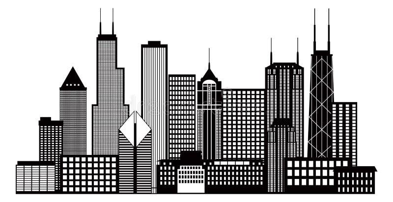 Van de de Stadshorizon van Chicago de Zwart-witte Vectorillustratie stock illustratie