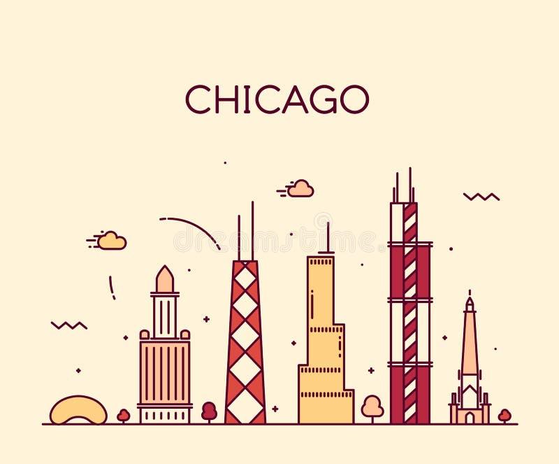 Van de de Stadshorizon van Chicago In vector de lijnart. stock illustratie