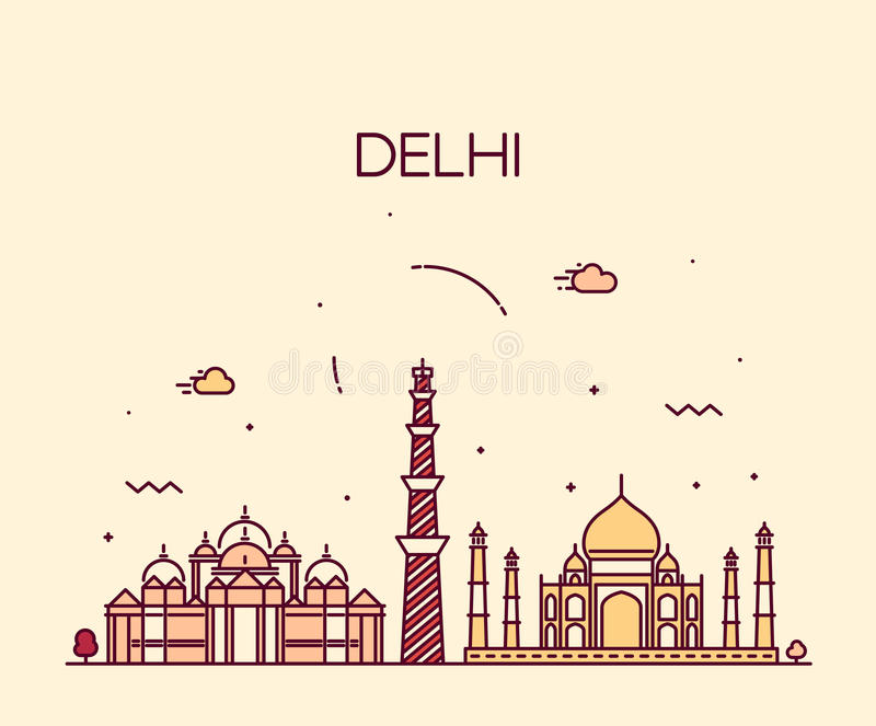 Van de de Stadshorizon van Delhi art. van de de illustratielijn het In stock illustratie