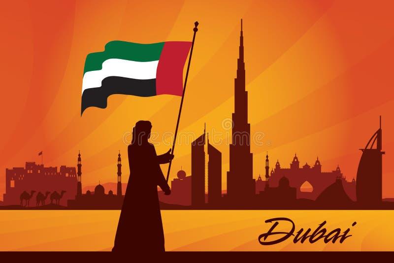 Van de de stadshorizon van Doubai het silhouetachtergrond stock illustratie