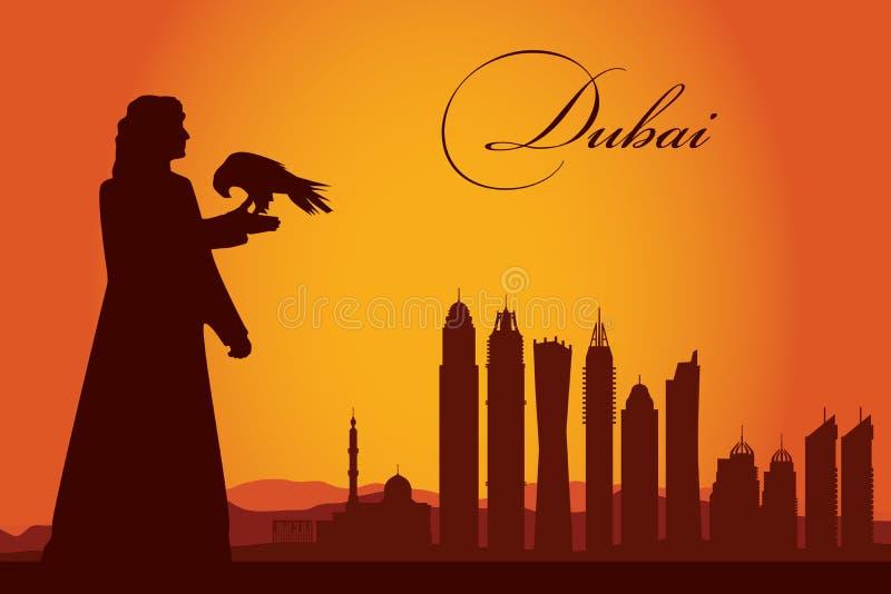 Van de de stadshorizon van Doubai het silhouetachtergrond royalty-vrije illustratie