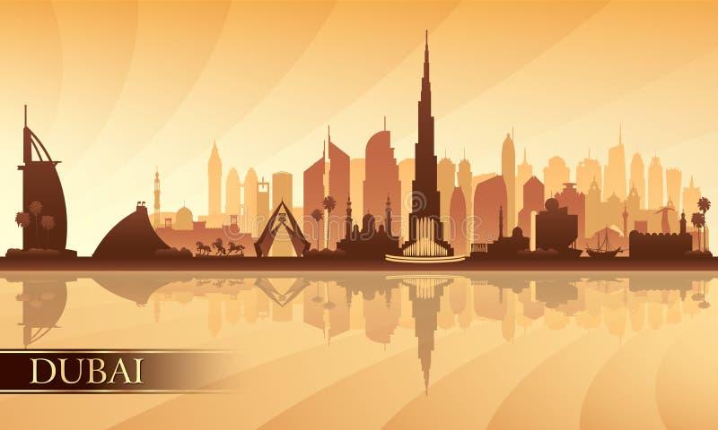 Van de de stadshorizon van Doubai het silhouetachtergrond vector illustratie