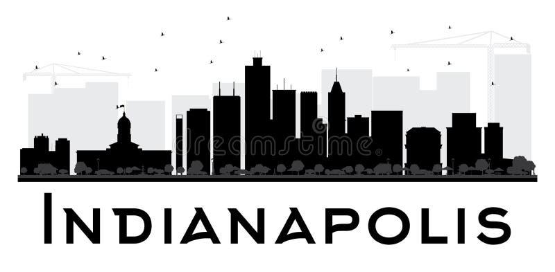 Van de de Stadshorizon van Indianapolis het zwart-witte silhouet royalty-vrije illustratie
