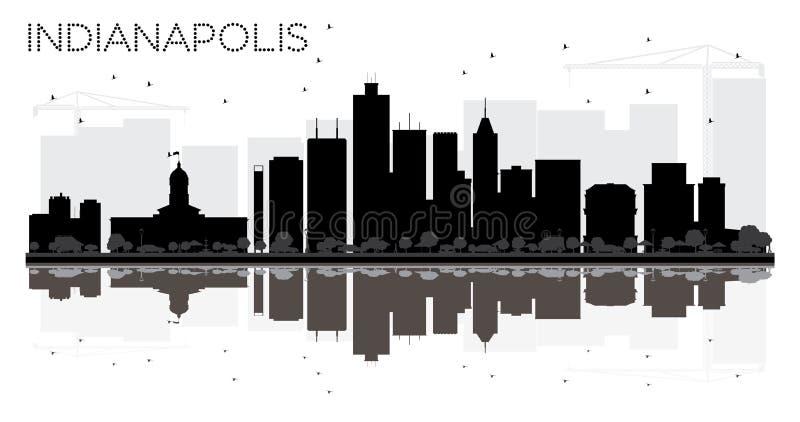 Van de de Stadshorizon van Indianapolis het zwart-witte silhouet met reflec vector illustratie