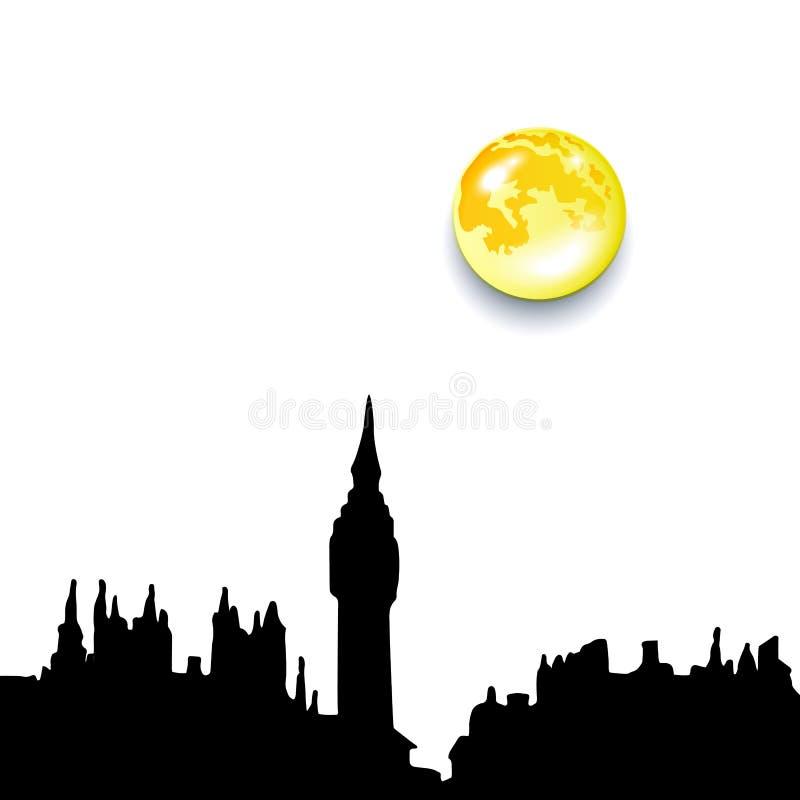 Van de de stadshorizon van Londen het silhouetachtergrond, vectorillustratie royalty-vrije illustratie