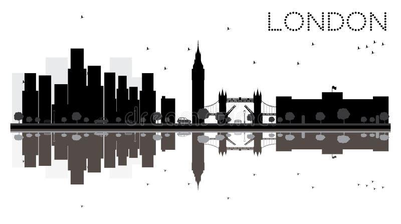 Van de de Stadshorizon van Londen het zwart-witte silhouet met Bezinningen stock illustratie