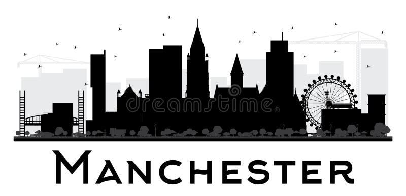 Van de de Stadshorizon van Manchester het zwart-witte silhouet stock illustratie