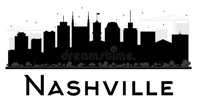 Van de de Stadshorizon van Nashville het zwart-witte silhouet royalty-vrije illustratie