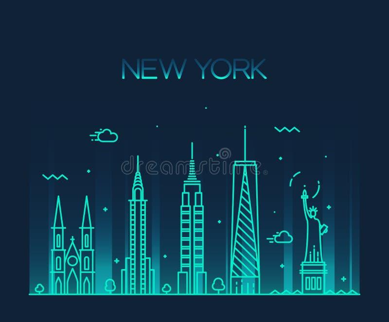 Van de de Stadshorizon van New York van de het silhouetlijn de kunststijl stock illustratie