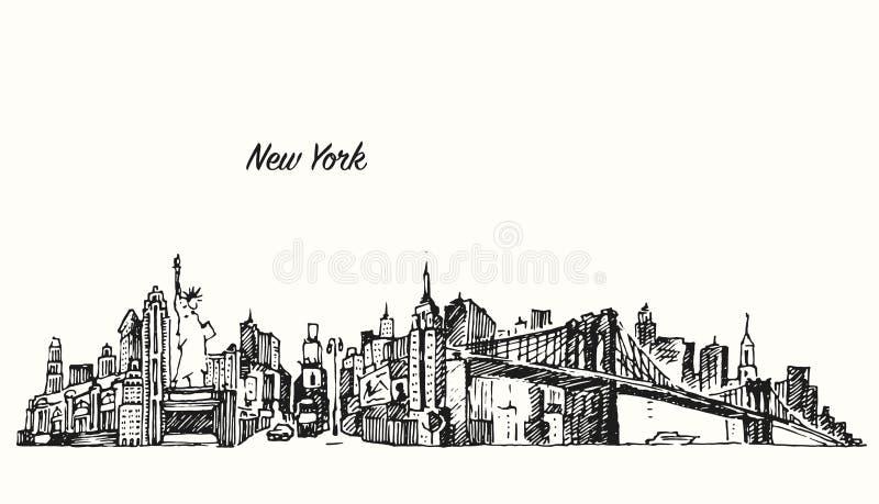 Van de de stadshorizon van New York vector de illustratieschets stock illustratie