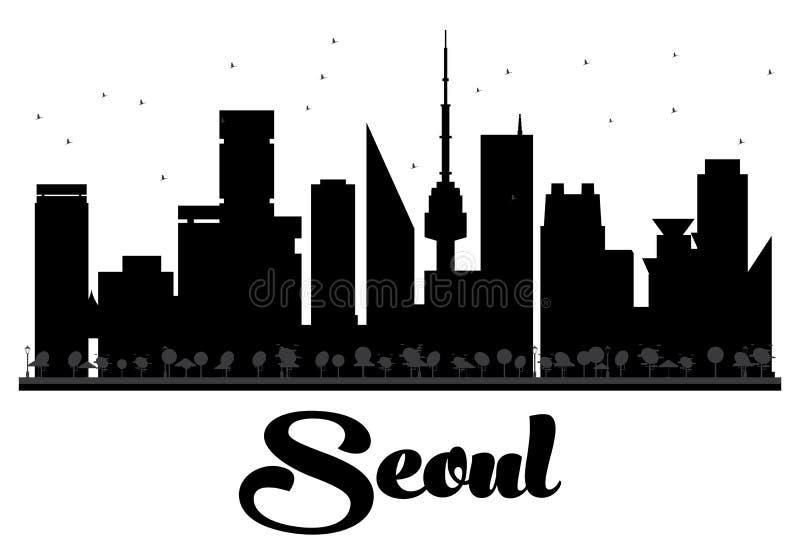 Van de de Stadshorizon van Seoel het zwart-witte silhouet royalty-vrije illustratie