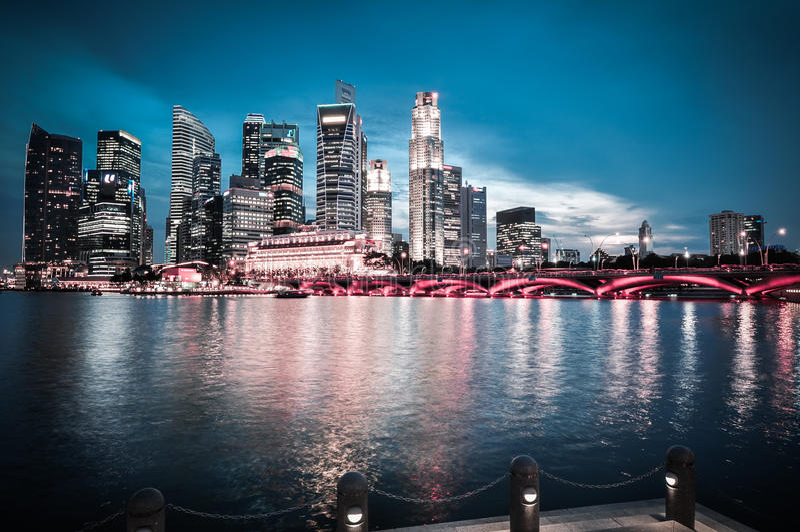 Van de de stadshorizon van Singapore het finacial district stock fotografie